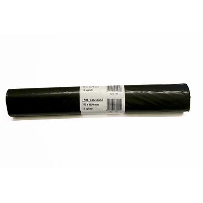 Jätesäkki musta 150L  /10 pss rulla - LDPE muovi, vahvuus 40 my