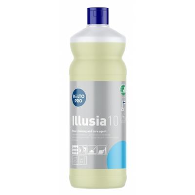 Lattioiden puhdistus- ja hoitoaine Kiilto Illusia 10 1L - kotimainen, hajusteeton, Joutsenmerkitty