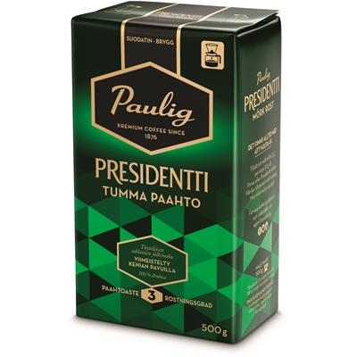Kahvi Presidentti Tumma Paahto hienojauhatus 500g - tumma ja täyteläinen, suklaisen pehmeä jälkimaku