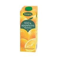 Täysmehu Tropic Appelsiini 100% 1 l - ei lisättyä sokeria, eikä lisä- tai säilöntäaineita