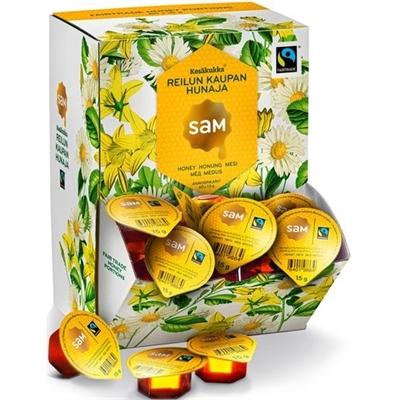 Hunaja Sam annospikari 15 g Reilu kauppa /60 kpl - 100 % luonnontuote, terveyttä edistävä superfood!