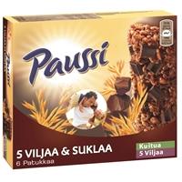 Välipalapatukka Paussi 5 viljaa ja suklaa 125 g /6 kpl pkt - paljon kuitua ja muhkeita suklaapaloja