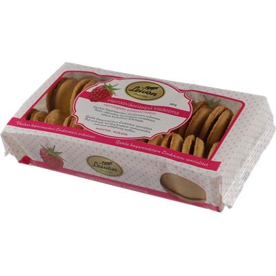 Keksi Leivon Herrasväen Pikkuleipä 300g - vadelmatäytteellä, maidoton ja laktoositon