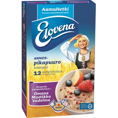 Annospuuro Elovena Omena-Mustikka-Vadelma 35g /12 pss - lisää vain kiehuva vesi, minuutissa valmis!