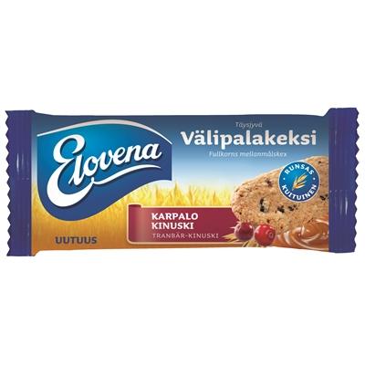 Välipalakeksi Elovena karpalo-kinuski 30g/10