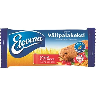 Välipalakeksi Elovena kaura-puolukka 30g/10