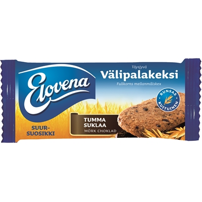 Välipalakeksi Elovena Tumma Suklaa 30g /10 kpl pkt - runsaskuituinen
