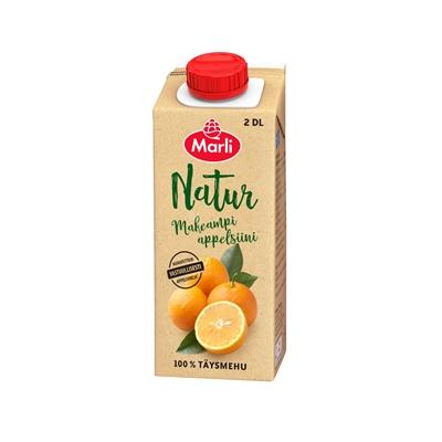 Täysmehu Marli Natur makea appelsiini 2 dl - 100 % täysmehu, ei lisättyä sokeria