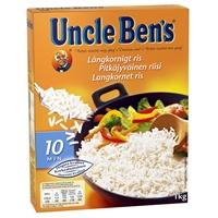 Riisi Uncle Bens pitkäjyväinen 1 kg - gluteeniton korkealaatuinen ja tarttumaton riisi
