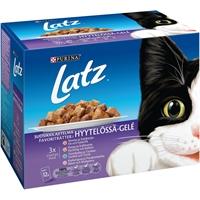Kissanruoka Latz suosikkilajitelma hyytelössä 12x100 g /4 ltk - täysravinto aikuiselle kissalle