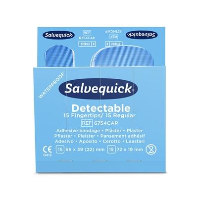 Sormenpäälaastari Salvequick 6754CAP sininen 6x30kpl - steriilipakattu laastari elintarvikealalle