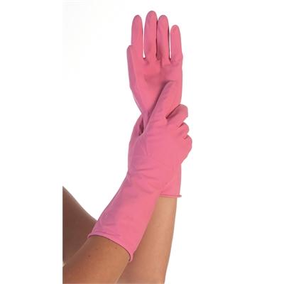 Suojakäsine vaaleanpunainen S - kumisormikas luonnonkumista ja sisäpinta pehmeää puuvillaa