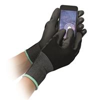 Nylonkäsine kosketusnäyttö musta L - silikoniton työhanska, PU-pinnoitus