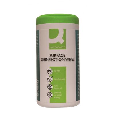 Desinfiointipyyhe Q-Connect /100 kpl pkt - antibakteerinen, muovi- ja metallipinnoille