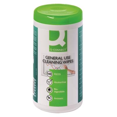Puhdistusliina Q-Connect muovipinnoille /100 kpl - estä kolibakteeri, salmonella, MRSA, influenssa