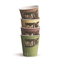 Kuumakuppi Huhtamaki Bioware biohajoava 250 ml värilaj. /80 kpl - 100 % kompostoituva, kotimainen