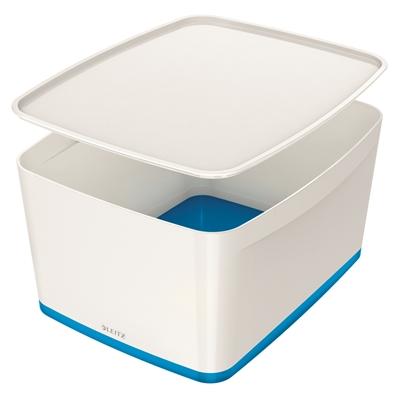 Säilytyslaatikko kannella Leitz MyBox koko L valkoinen/sin