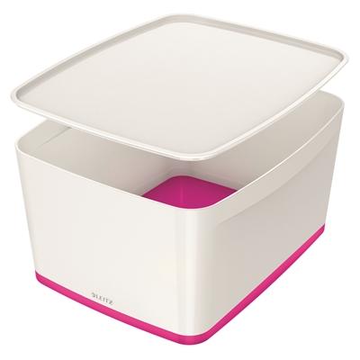 Säilytyslaatikko kannella Leitz MyBox koko L valk/pinkki