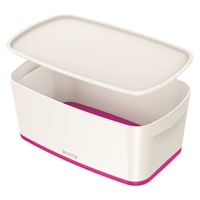 Säilytyslaatikko kannella Leitz MyBox koko S valk/pinkki
