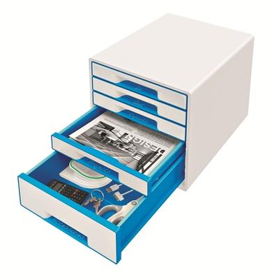 Vetolaatikosto Leitz WOW Cube 5-osainen valkoinen/sininen