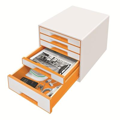 Vetolaatikosto Leitz WOW Cube 5-osainen valkoinen/oranssi