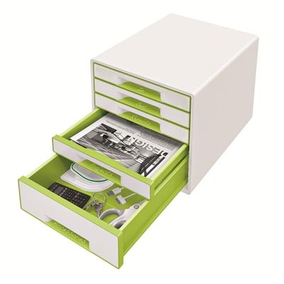 Vetolaatikosto Leitz WOW Cube 5-osainen valkoinen/vihreä