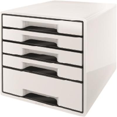 Vetolaatikosto Leitz WOW Cube 5-os valkoinen/musta