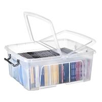 Säilytyslaatikko Strata kannella 24l läpinäkyvä - 100% kierrätettävää polypropeenia