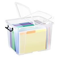 Säilytyslaatikko Strata kannella 40l läpinäkyvä - 100% kierrätettävää polypropeenia
