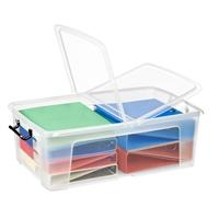 Säilytyslaatikko Strata kannella 50l läpinäkyvä - 100% kierrätettävää polypropeenia