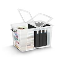 Säilytyslaatikko Strata kannella 65l läpinäkyvä - 100% kierrätettävää polypropeenia