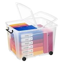Säilytyslaatikko Strata kannella ja pyörillä 75l läpinäkyvä - 100% kierrätettävää polypropeenia