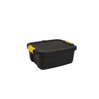 Varastolaatikko Strata Heavy Duty kannella 24l musta - 100% kierrätettävää polypropeenia
