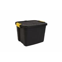 Varastolaatikko Strata Heavy Duty kannella 42l musta - 100% kierrätettävää polypropeenia