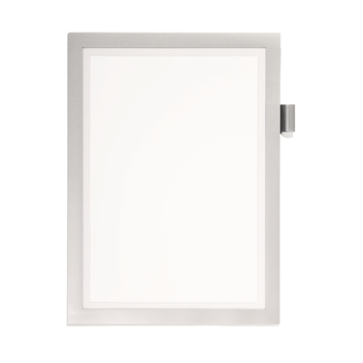 Infotasku / infokehys Duraframe Note A4 hopea - paperiin kirjoittaminen onnistuu ikkuna-aukon kautta