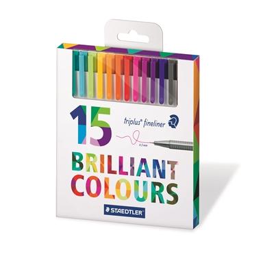 Kuitukärkikynä Staedtler Triplus Brilliant Color 15 väriä