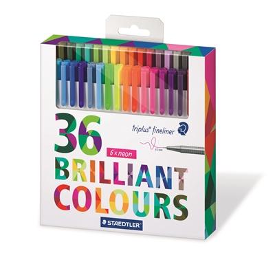 Kuitukärkikynä Staedtler Triplus Brilliant Color 36 väriä