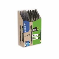 Geelikynä Pilot G-2 M musta / 12 kynää + 12 säiliötä - 50% kierrätysmateriaalia