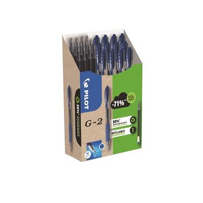 Geelikynä Pilot G-2 M sininen / 12 kynää + 12 säiliötä - 50% kierrätysmateriaalia