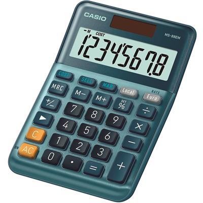 Pöytälaskin Casio MS-88EM - valokennolla toimiva paristovarmennettu laskin