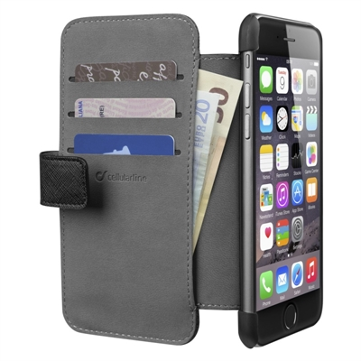 Kotelo iPhone 6 Cellularline wallet musta