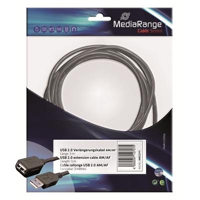 USB-jatkojohto 3m USB 2.0 musta
