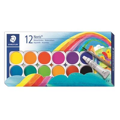 Vesivärit Staedtler Noris 12 värin paletti + tuubi + suti - korkealaatuiset ja peittävät värit