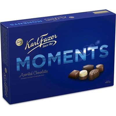 Suklaa Karl Fazer Moments 400g - suklaakonvehtien suosikkimakuja kahdessa kerroksessa