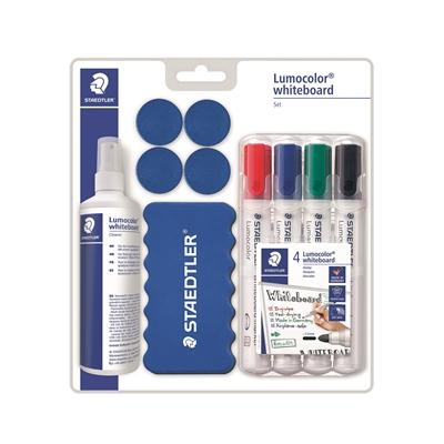 Tarvikepakkaus valkotaululle Staedtler Lumocolor - 4 tussia, pyyhin, puhdistusspray ja 4 magneettia