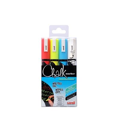 Lasitaulukynä / liitutaulukynä Uni Chalk Marker PWE-5M pyöreä 4 väriä - kestää sadetta