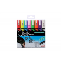Lasitaulukynä / liitutaulukynä Uni Chalk Marker PWE-5M pyöreä 8 väriä