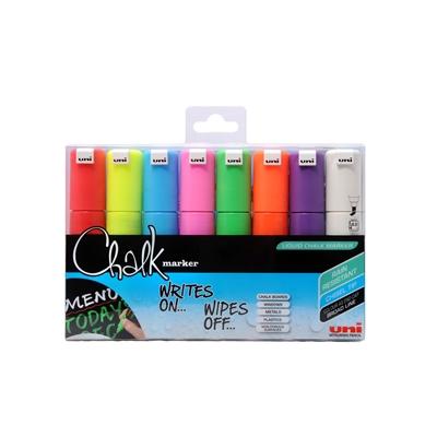 Lasi/liitutaulukynä Uni Chalk Marker PWE-8K  viisto 8 väriä