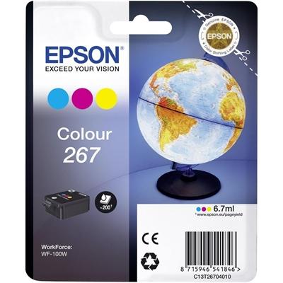 Värikasetti inkjet Epson Work Force WF-100W T267 3-väri