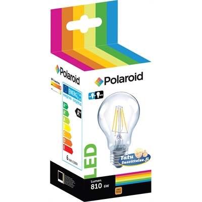 Lamppu Polaroid LED filament GLS 6W E27